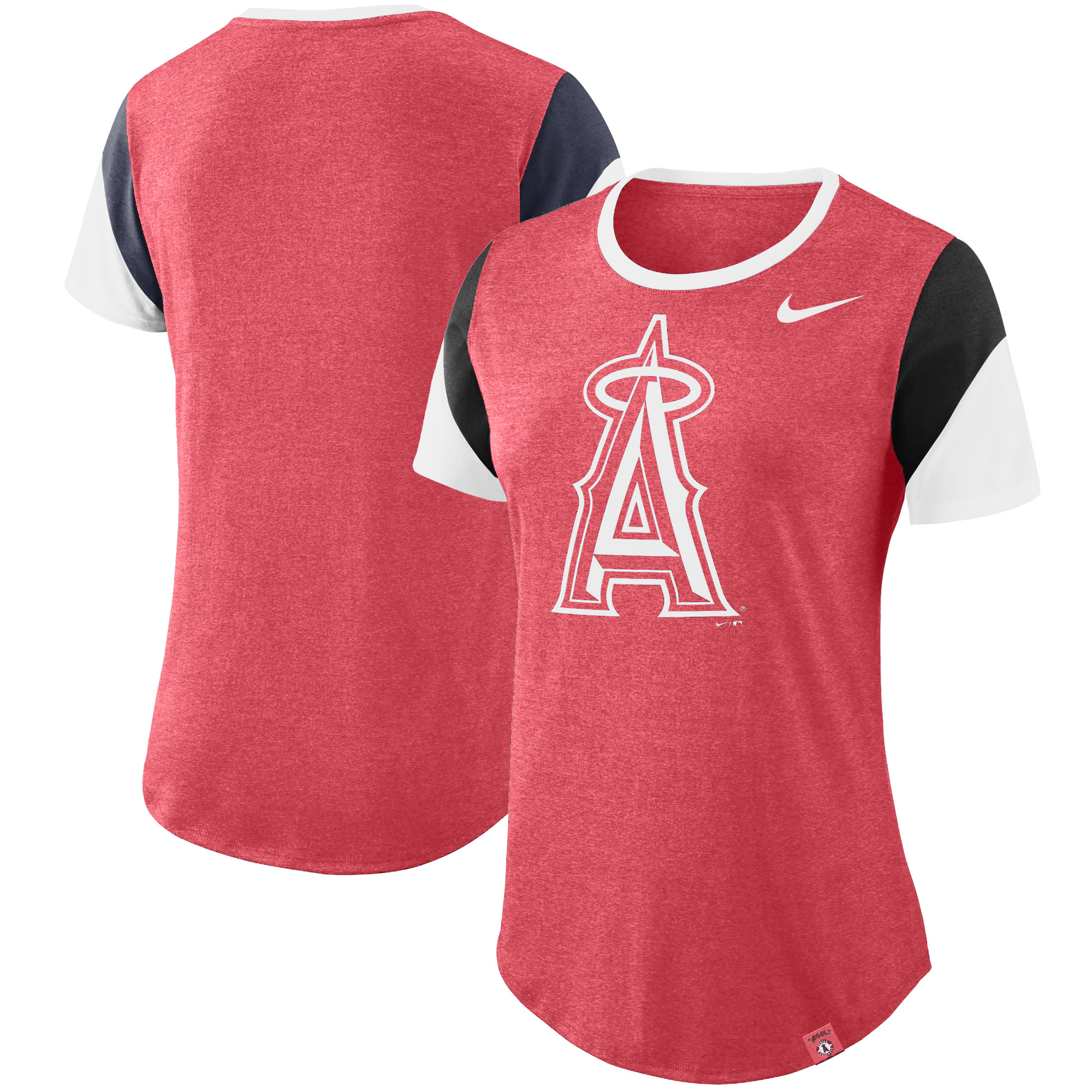 Los Angeles Angels Nike Women's Sleeve Stripes Tri-Blend T-Shirt - Heathered Red