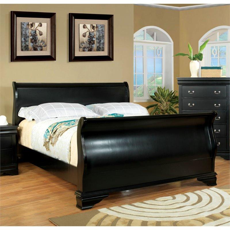 Furniture of America Easley California King Sleigh Bed in Black by Furniture of America