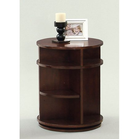 Progressive Furniture Swivel/Chairside Table - Dark Cherry and Birch