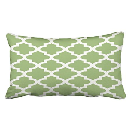 WinHome Decorative Olive Green and White Moroccan Quatrefoil Pattern Throw Pillow Case Decorative Cushion Covers Home Sofa Size 20x30 inches Two Side ()