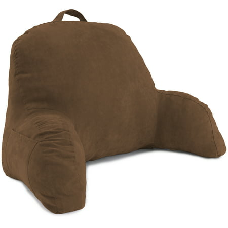 Deluxe Comfort Microsuede Bed Rest â Reading and Bedrest Lounger â Sitting Supprt Pillow â Soft But Firmly Stuffed Fiberfill â Backrest Pillow with Arms,