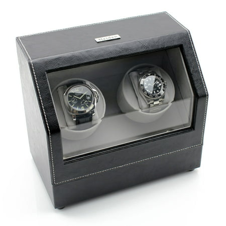Battery Powered Dual Watch Winder - Black Leather ()