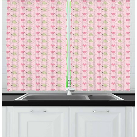 Tartan Heart - Baby Curtains 2 Panels Set, Elephants in Tartan with Hearts Dots Love Animal Kids Childish Design, Window Drapes for Living Room Bedroom, 55W X 39L Inches, Pistachio Green Rose Pink, by Ambesonne