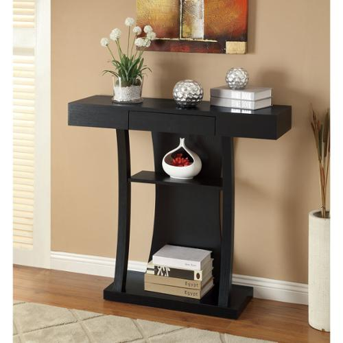 OH Black Finish Console Sofa Table with Drawer