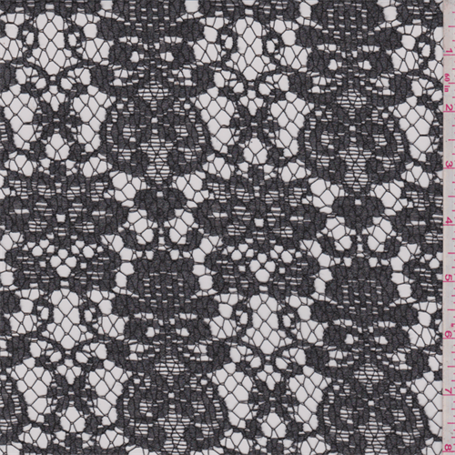 Charcoal Grey Floral Nylon Lace, Fabric By the Yard