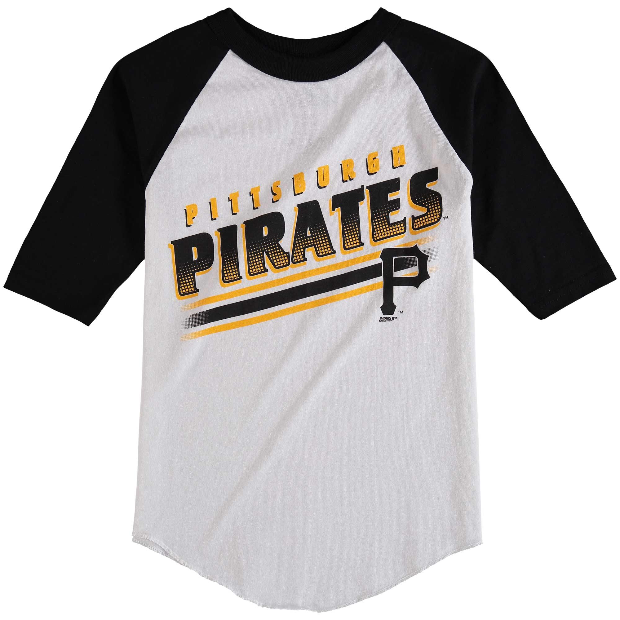 Pittsburgh Pirates Stitches Youth 3/4-Sleeve Raglan T-Shirt - White/Black