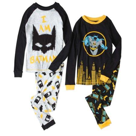 Batman Boys 4 Piece Cotton Pajama Set