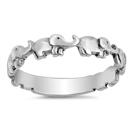 Cute Elephant Boho Girl's Dainty Stackable Ring Sterling Silver Band Size 12 Elephant Tapered Ring
