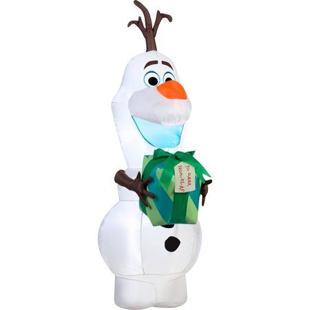 Gemmy Airblown Inflatable Disney Olaf with Gift, 5.5'