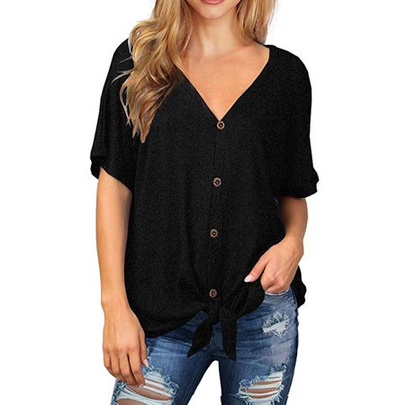 Womens Waffle Knit Tunic Blouse Tie Knot Short Sleeve Henley Tops Loose Fitting Bat Wing -