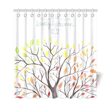 WOPOP Autumn Yellow Tree Shower Curtain Falling Leaves Polyester Fabric Bathroom Sets 66x72 Inches