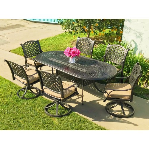 Darby Home Co Beadle Oval Cast Aluminum 7 Piece Dining Set with Cushions