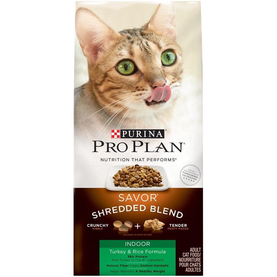 Purina Pro Plan Hairball, Indoor Dry Cat Food; SAVOR Shredded Blend Indoor Turkey & Rice Formula - 5 lb. Bag