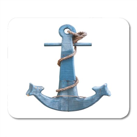 POGLIP Blue Nautical Vintage Anchor Isolate on White Sea Wood Mousepad Mouse Pad Mouse Mat 9x10 inch - image 1 of 1