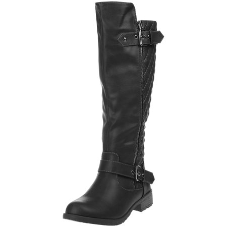 Enimay Women's Winter Fashion High Mid Calf Slouchy Flat Casual Dress Boot Buckle Black 5