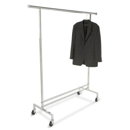 Econoco Single Hangrail Chrome Rolling Clothes Rack - Heavy Duty Square Tubing Garment Rack, Commercial Grade Clothing Display, Square Tubing Rolling Rack