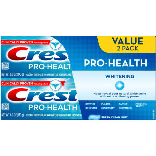 Crest Pro-Health Whitening Fresh Clean Mint Flavor Toothpaste, 6 oz, 2 count