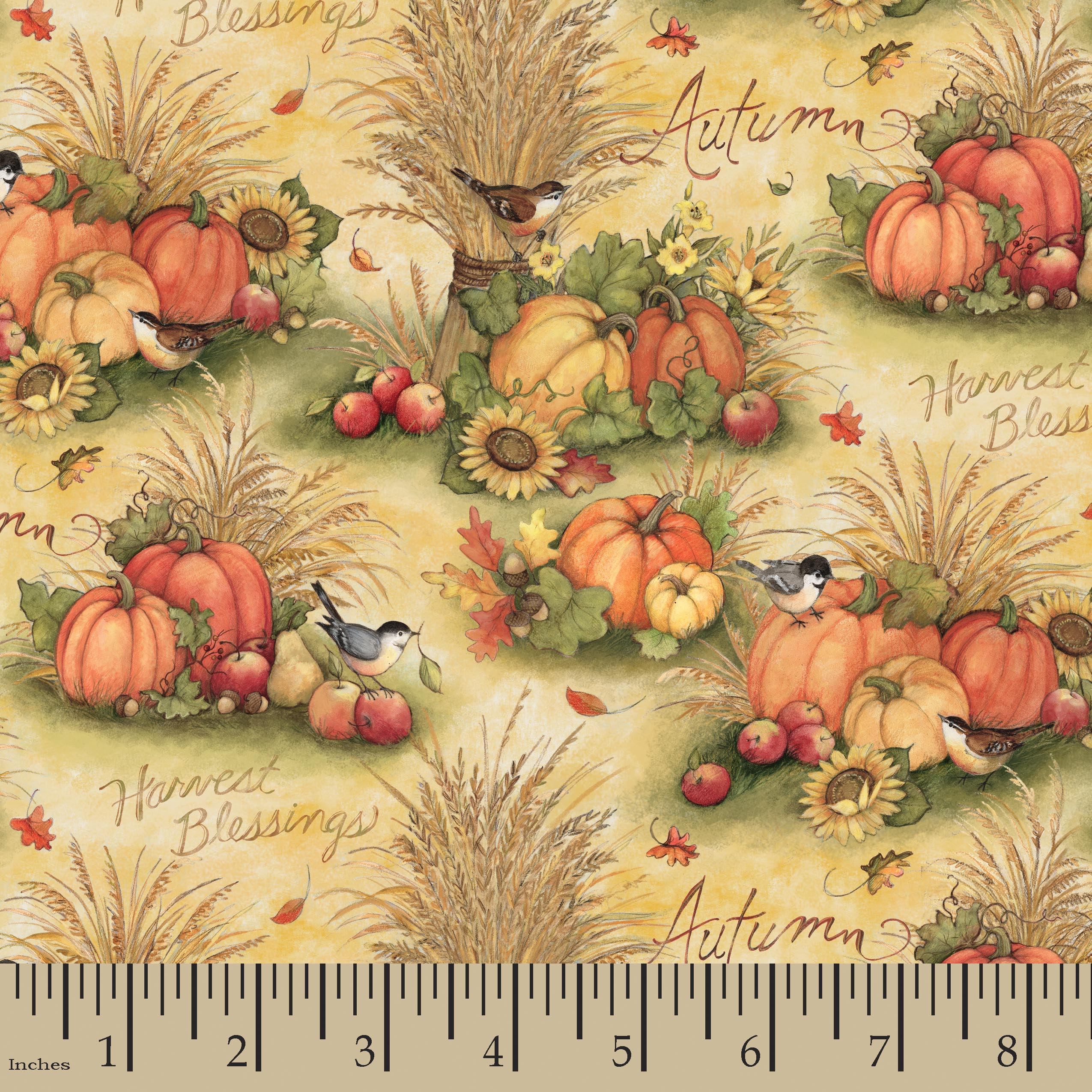 Harvest Pumpkin Wheat Fabric by the Yard