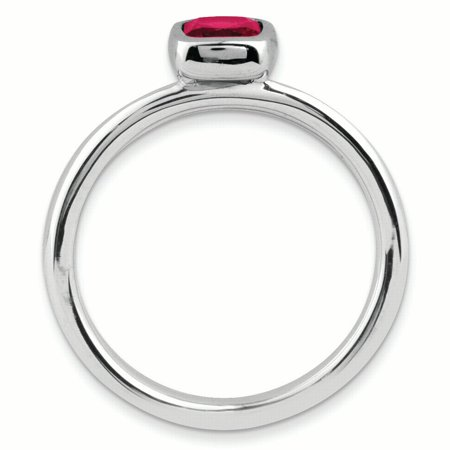 Sterling Silver Stackable Expressions Cushion Cut Created Ruby Ring Size 8 - image 2 of 3