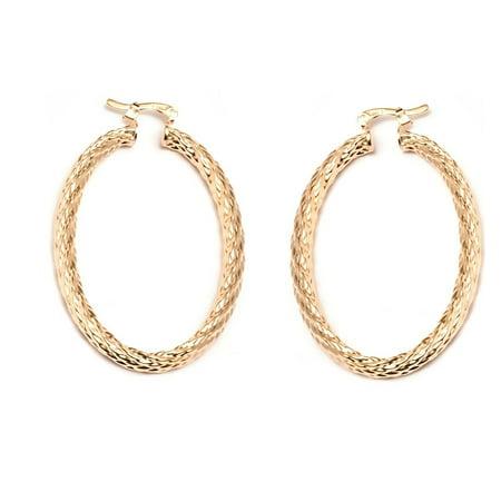 18K Gold Plated 40mm Braid Hoop Earrings