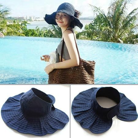 Womens Foldable Sun Hat Adjustable Wide Brim Hat Summer Visor Hat for Beach ()