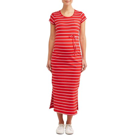 Oh! MammaMaternity stripe drawstring waist maxi dress - available in plus sizes