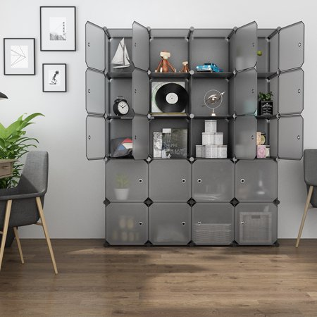 LANGRIA 20 Cube Organizer Stackable Plastic Cube Storage Shelves Design Multifunctional Modular Closet Cabinet ()