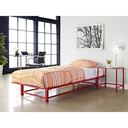 parsons twin metal ledge platform bed red