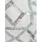 Geometric Dubai Sequins Dress Fabric / Silver / Sold By The Yard