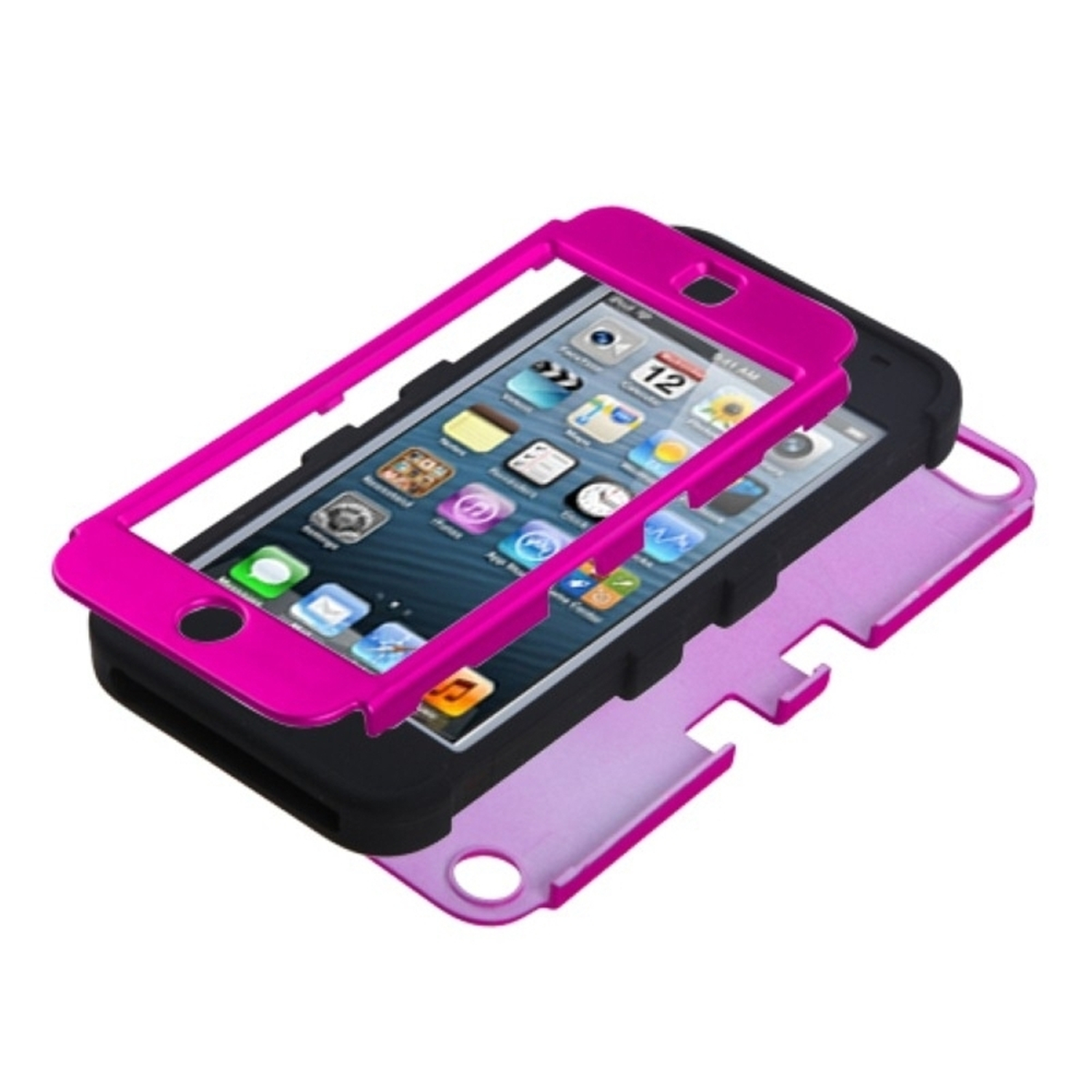 Insten Titanium Solid Hot Pink/Black TUFF Hybrid Phone Case for APPLE: iPod touch (5th 6th Gen 5 6)