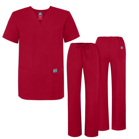 AZ Uniforms Men Women Adults V-Neck 3 Pocket Top Halloween Costume Party Sets - 701 - Red - 3X