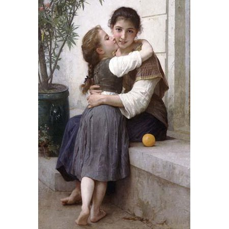 Big Sister sits on exterior window bench as Younger sister hugs her - an orange rests on the marble Poster Print by William-Adolphe Bouguereau