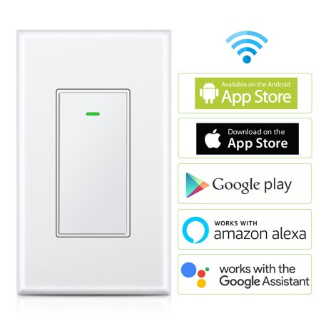 Smart Wi-Fi Light Switch, SLYPNOS Wireless Remote Switch and In-Wall Voice Control Switch with Timer Function and Overload Protection Compatible with Alexa and Google Assistant, Neutral Wire Required