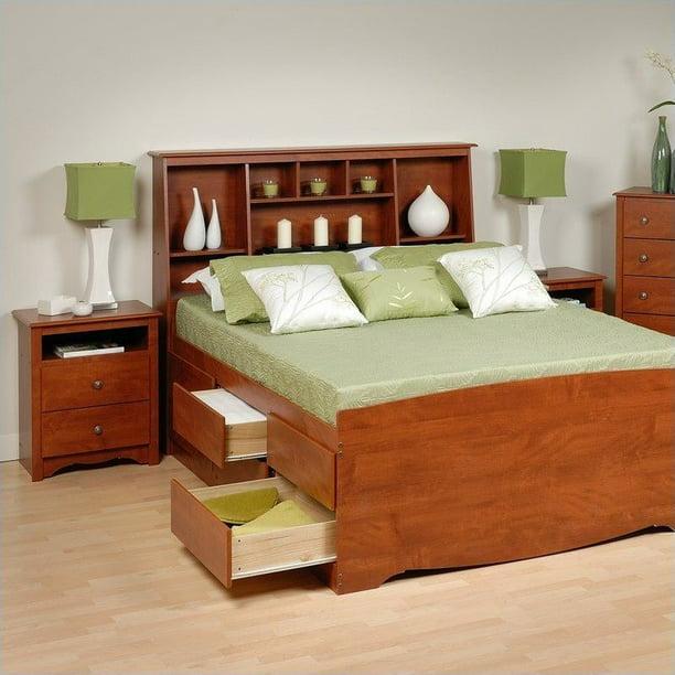 Prepac Monterey Cherry Queen Wood Platform Storage Bed 4 ...
