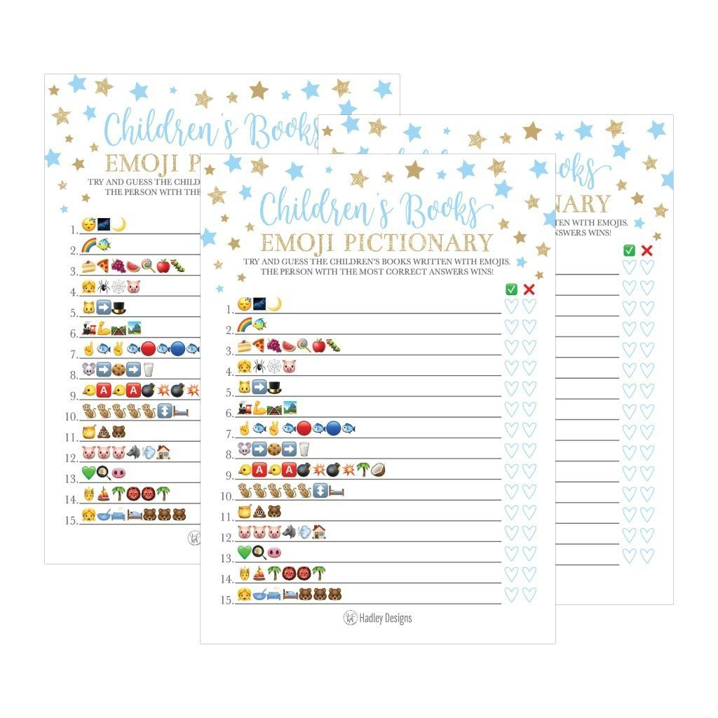 25 Blue Emoji Children's Books Pictionary Baby Shower Game Party Ideas For Quiz Boy, Kids, Men, Women and Couples, Cute Classic Bundle Pack Set, Gold Stars Gender Neutral Unisex Fun Coed Cards