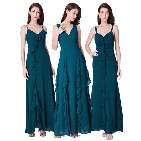 Ever-Pretty Women's Elegant Ruffled V-Neck Long Chiffon Evening Prom Wedding Party Bridesmaid Maxi Dresses for Women 07354 US 4