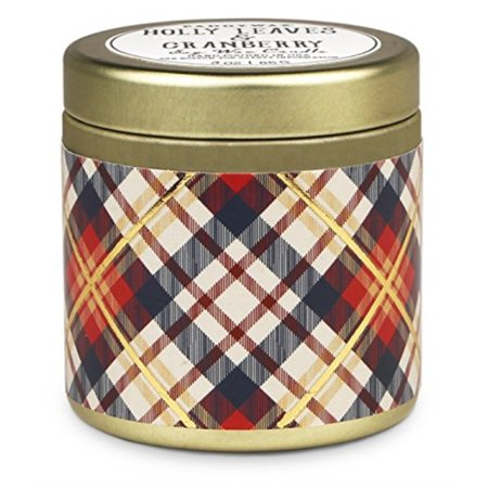 Paddywax Tartan Holiday Collection Scented Travel Tin Candle, 3-Ounce, Holly Leaves and