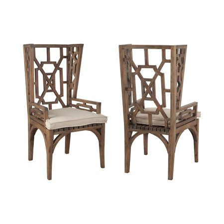 Guildmaster 2317015co Teak Cream Outdoor Wing Back Chair