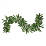 """DAK 6' x 12"""" Unlit Silver Holly Berry, Apple and Twig Artificial Christmas Garland"""