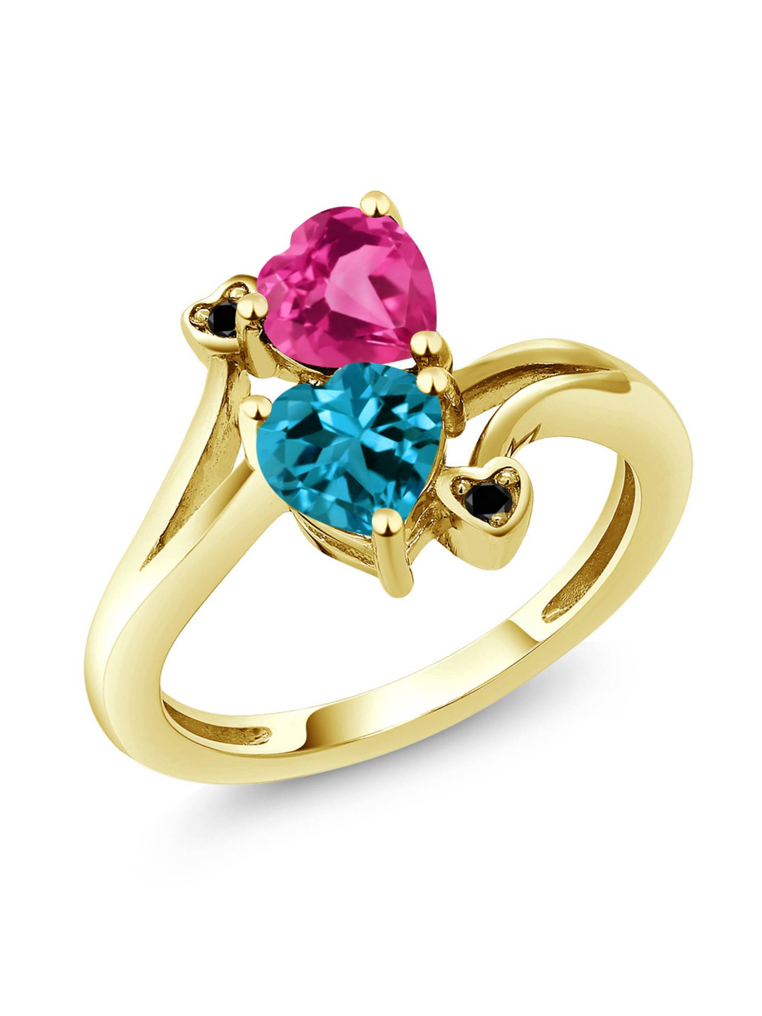 1.78 Ct Heart Shape London Blue Topaz Pink Created Sapphire 10K Yellow Gold Ring by