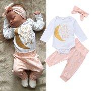 Newborn Kids Baby Girls Clothes Romper Top Pants Leggings Cotton 3Pcs Outfit Pink 18-24 Months