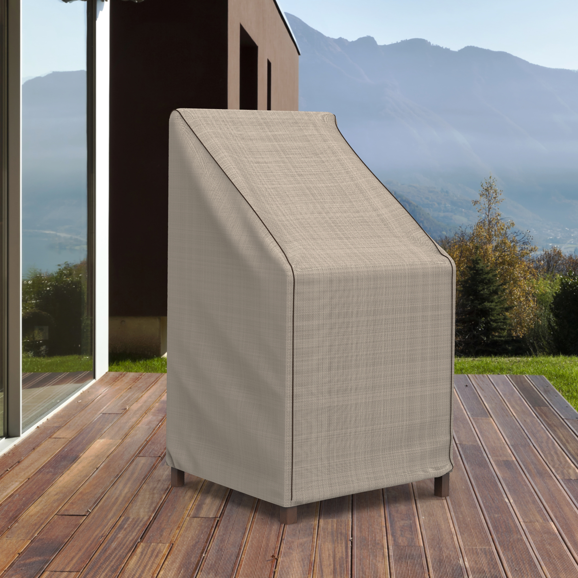 "Budge 49"" Tan Tweed Patio Stacked Chair/Barstool Cover, English Garden"