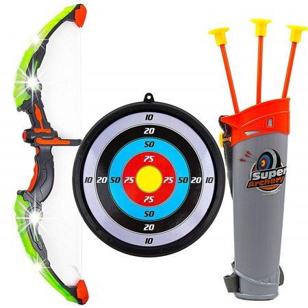 Toysery Kids Toy Bow & Arrow Archery Set with Arrow Holder with Target Stand - LED Light Up Function - Hunting Series Toy for Boys And Girls, - Bow & Arrow Set