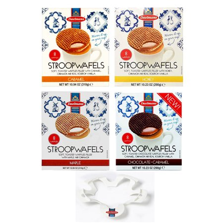 Dalemans Dutch Stroopwafel Cube Jumbo Size 4 Variety Pack with Waffle Warmer- CARAMEL, HONEY, MAPLE, CHOCOLATE CARAMEL (5-Piece Set)