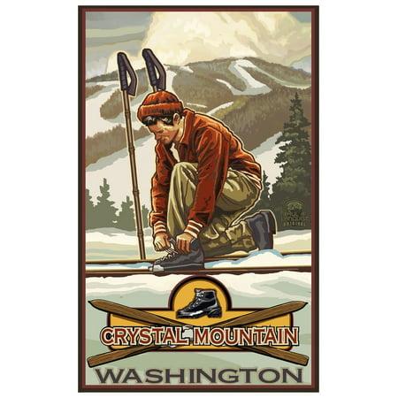 Crystal Mountain Washington Classic Ski Bindings Travel Art Print Poster by Paul A. Lanquist (12