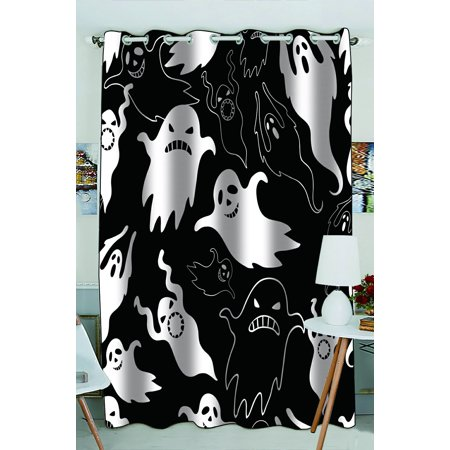 Phfzk Halloween Theme Window Curtain, Halloween Dask Night Scary Ghosts Black And White Window Curtain Blackout Curtain For Bedroom Living Room Kitchen Room 52X84 Inches One
