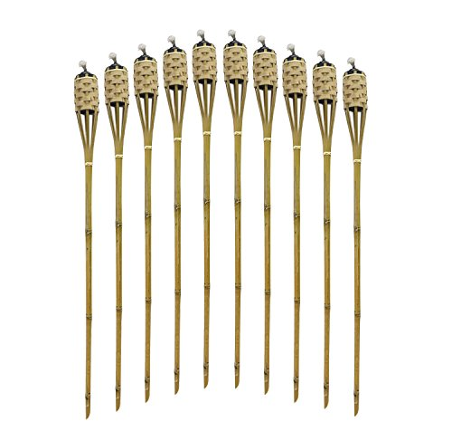 """Mr. Garden Bamboo Torches Decor Party-48"""" Long-10 Pack Metal Oil Canisters Wheat"""