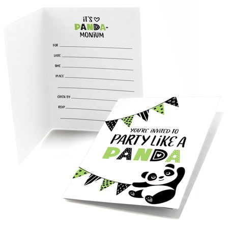 Party Like a Panda Bear - Fill In Baby Shower or Birthday Party Invitations (8 count)