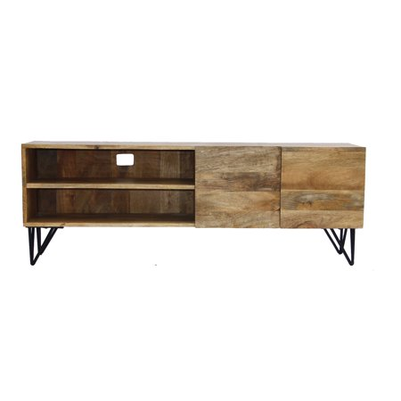 The Urban Port Style Tv Stand With Storage Cabinet Natural Wood Finish