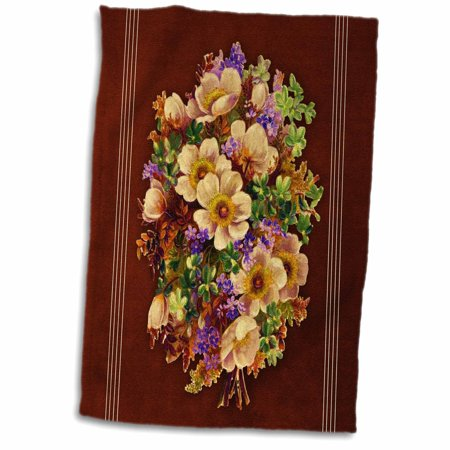 3dRose Assorted bouquet of yellow, orange, green and purple flowers with burgundy textured background - Towel, 15 by 22-inch